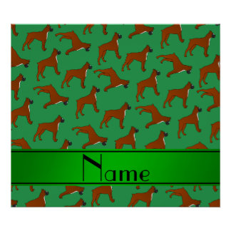Personalized name green boxer dog pattern poster