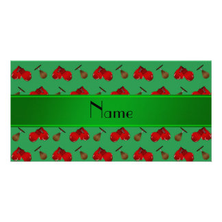 Personalized name green boxing pattern photo card template