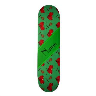 Personalized name green boxing pattern skateboard deck