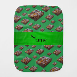 Personalized name green brownies baby burp cloths