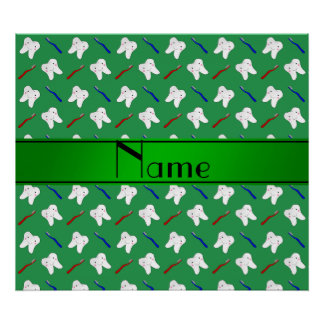 Personalized name green brushes and tooth pattern print