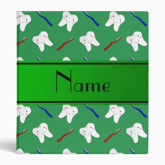 Personalized name green brushes and tooth pattern vinyl binders
