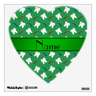 Personalized name green brushes and tooth pattern wall decor