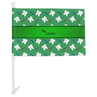 Personalized name green brushes and tooth pattern car flag