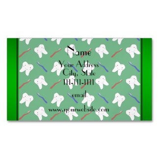 Personalized name green brushes and tooth pattern magnetic business cards (Pack of 25)