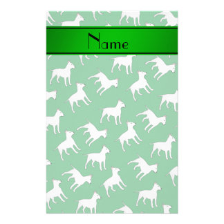 Personalized name green bull terrier dogs stationery