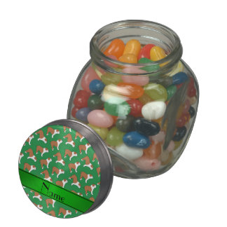 Personalized name green Bulldog Jelly Belly Candy Jars