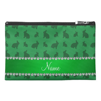 Personalized name green bunnies travel accessory bag