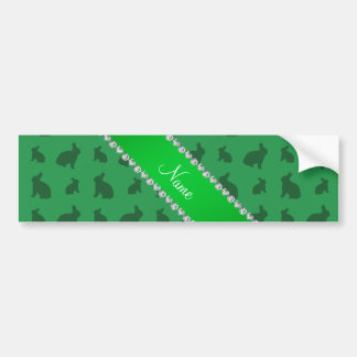 Personalized name green bunnies car bumper sticker