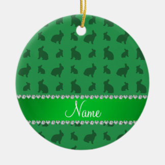 Personalized name green bunnies ceramic ornament