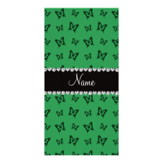 Personalized name green butterfly pattern photo card