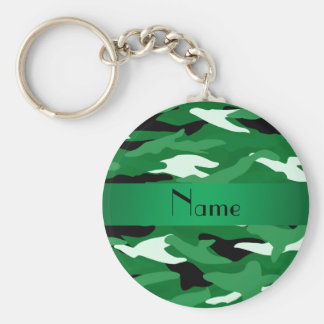 Personalized name green camouflage basic round button keychain