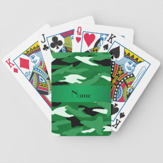 Personalized name green camouflage bicycle playing cards