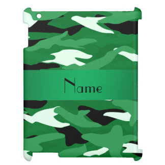 Personalized name green camouflage iPad cover