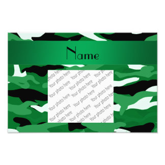 Personalized name green camouflage art photo