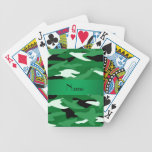 Personalized name green camouflage playing cards