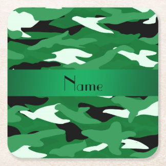 Personalized name green camouflage square paper coaster