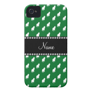 Personalized name green cat pattern Case-Mate iPhone 4 cases