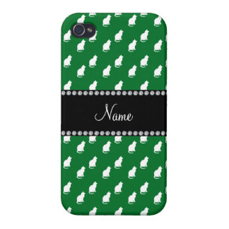 Personalized name green cat pattern iPhone 4 cases