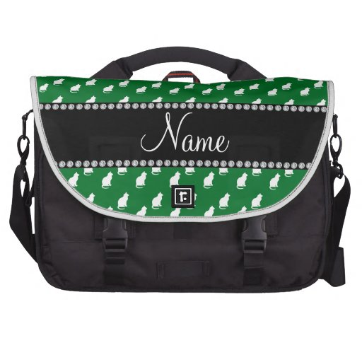 Personalized name green cat pattern bags for laptop