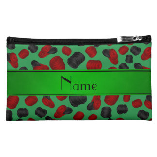 Personalized name green checkers game cosmetic bag