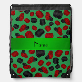 Personalized name green checkers game drawstring bag