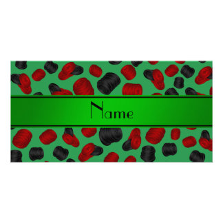 Personalized name green checkers game photo card