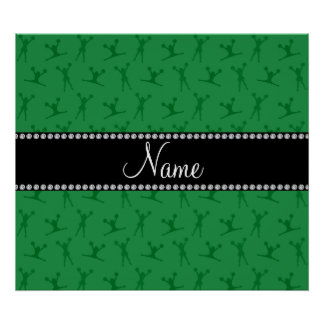 Personalized name green cheerleader pattern print