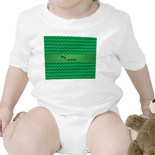 Personalized name green chevrons bodysuits