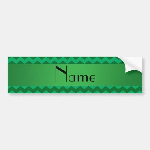 Personalized name green chevrons bumper sticker
