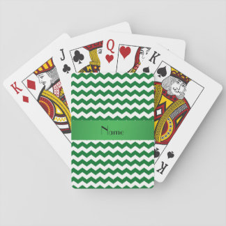 Personalized name green chevrons poker cards