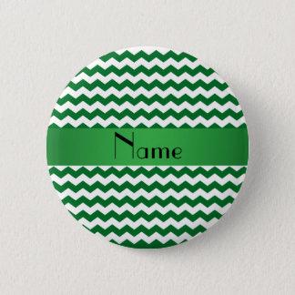 Personalized name green chevrons pinback button