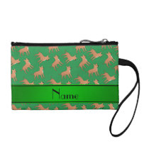 Personalized name green chihuahua dogs coin wallet