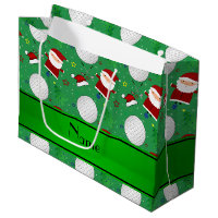 Personalized name green christmas golfing large gift bag