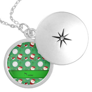 Personalized name green christmas golfing personalized necklace