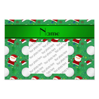 Personalized name green christmas golfing photograph