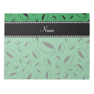 Personalized name green coffee cup note pad