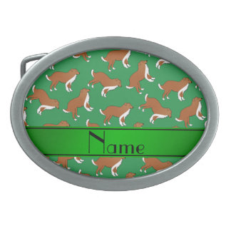 Personalized name green collie dog pattern belt buckle