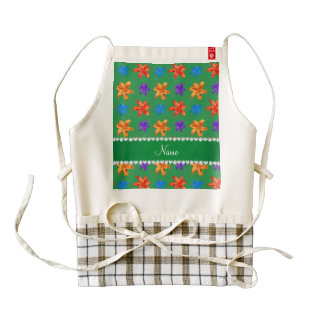 Personalized name green colorful lily flowers zazzle HEART apron