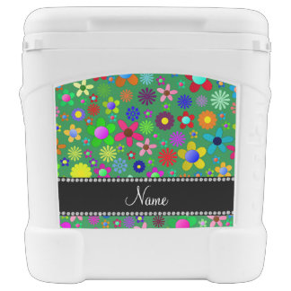 Personalized name green colorful retro flowers igloo rolling cooler