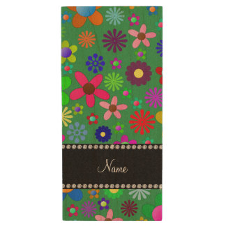 Personalized name green colorful retro flowers wood USB 2.0 flash drive