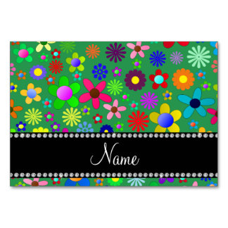 Personalized name green colorful retro flowers table cards