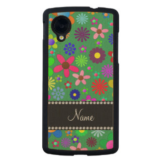 Personalized name green colorful retro flowers carved® maple nexus 5 case