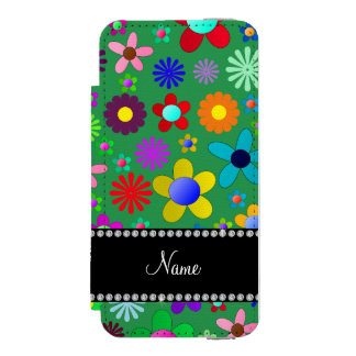 Personalized name green colorful retro flowers incipio watson™ iPhone 5 wallet case