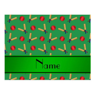 Personalized name green cricket pattern post cards