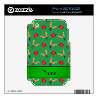 Personalized name green cricket pattern skins for iPhone 3