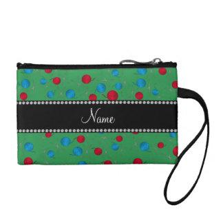 Personalized name green crochet pattern change purse