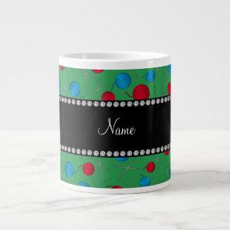 Personalized name green crochet pattern 20 oz large ceramic coffee mug