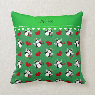 Personalized name green cupid penguins red hearts pillow