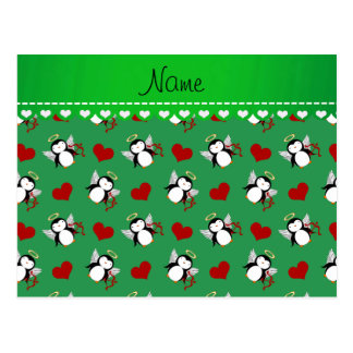 Personalized name green cupid penguins red hearts postcard